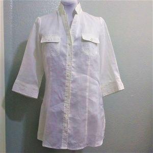 Sunny Leigh 100% Linen 3/4 Sleeve Blouse Size L